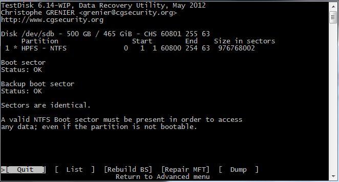 ntfs boot sector unreadable